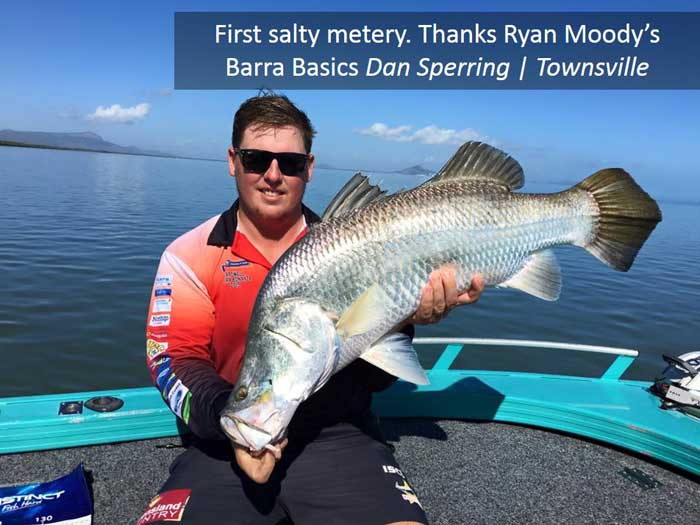 Barra Basics online course student catches barra in Townsville